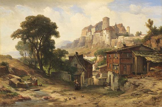 Lot 17 - Albert Emil Kirchner 1813 Leipzig - 1885 München Ansicht von Schloss Burghausen an der Salzach.