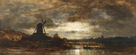 Lot 30 - Eduard Schleich d. Ä. 1812 Haarbach - 1874 München Holländische Flusslandschaft mit Mühle bei