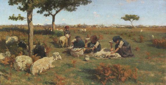 Lot 44 - Stefano Bruzzi 1835 Piacenza - 1911 Piacenza Die Schafschur. Um 1885. Öl auf Leinwand. Links unten