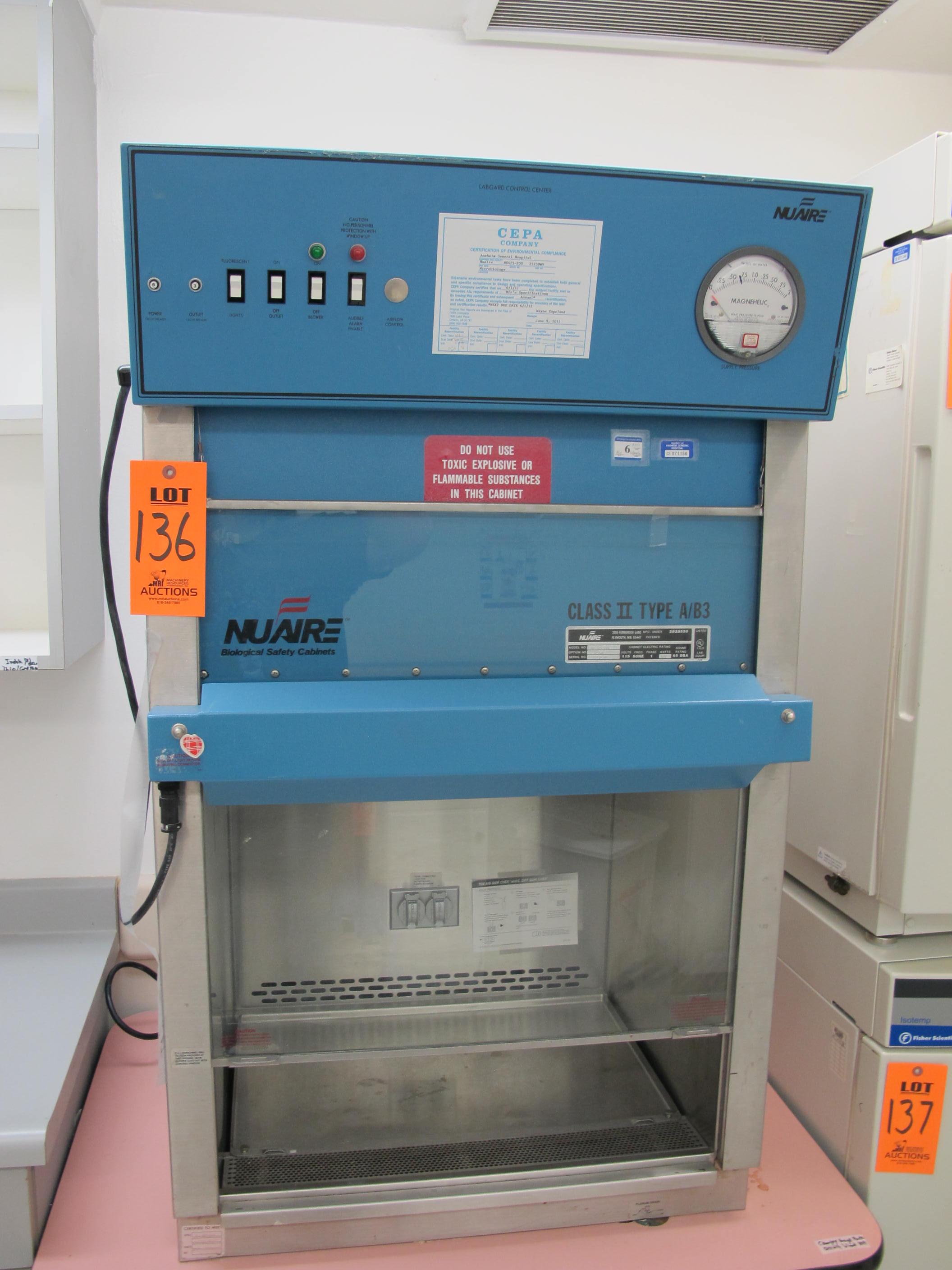 nuaire biological safety cabinet class ii type a b3 – cabinets