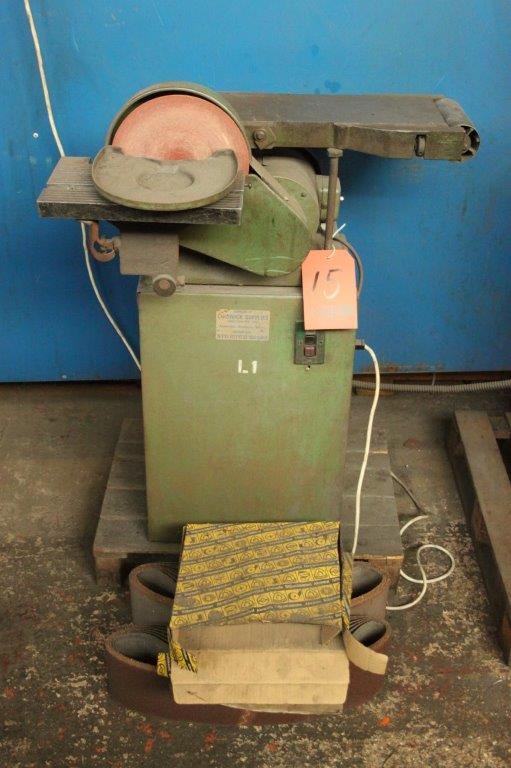 Lot 15 - 150MM HORIZONTAL LINNISHER C/W 200MM DISC SANDER WITH SPARE BELTS AND DISCS