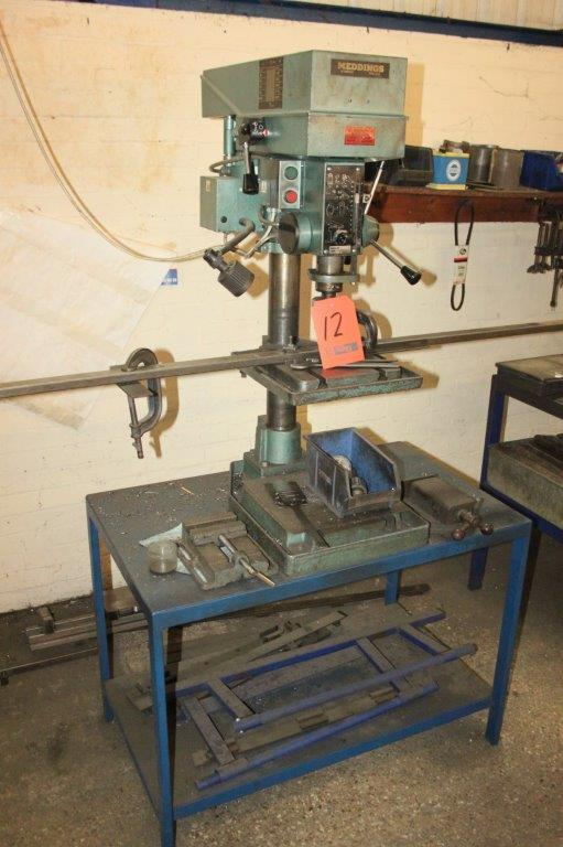 Lot 12 - MEDDING MB4 10 SPEED BENG DRILL AND ON STAND C/W MACHINE VICE # 032676