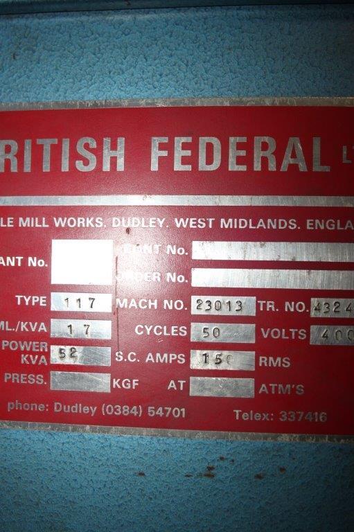 Lot 18 - BRITISH FEDERAL MONOPAK WPI 52 KVA SPOT WELDER