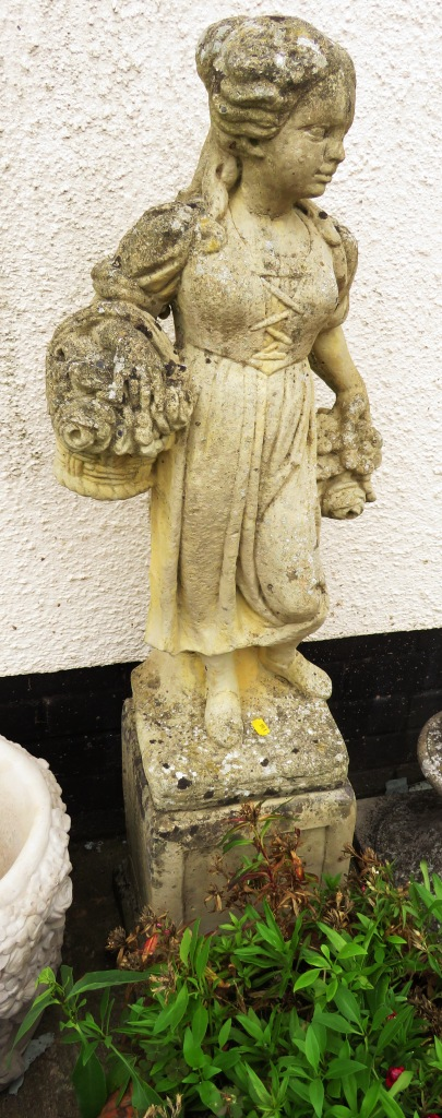 Lot 41 - COMPOSITE STONE STATUE OF A GIRL ON PLINTH