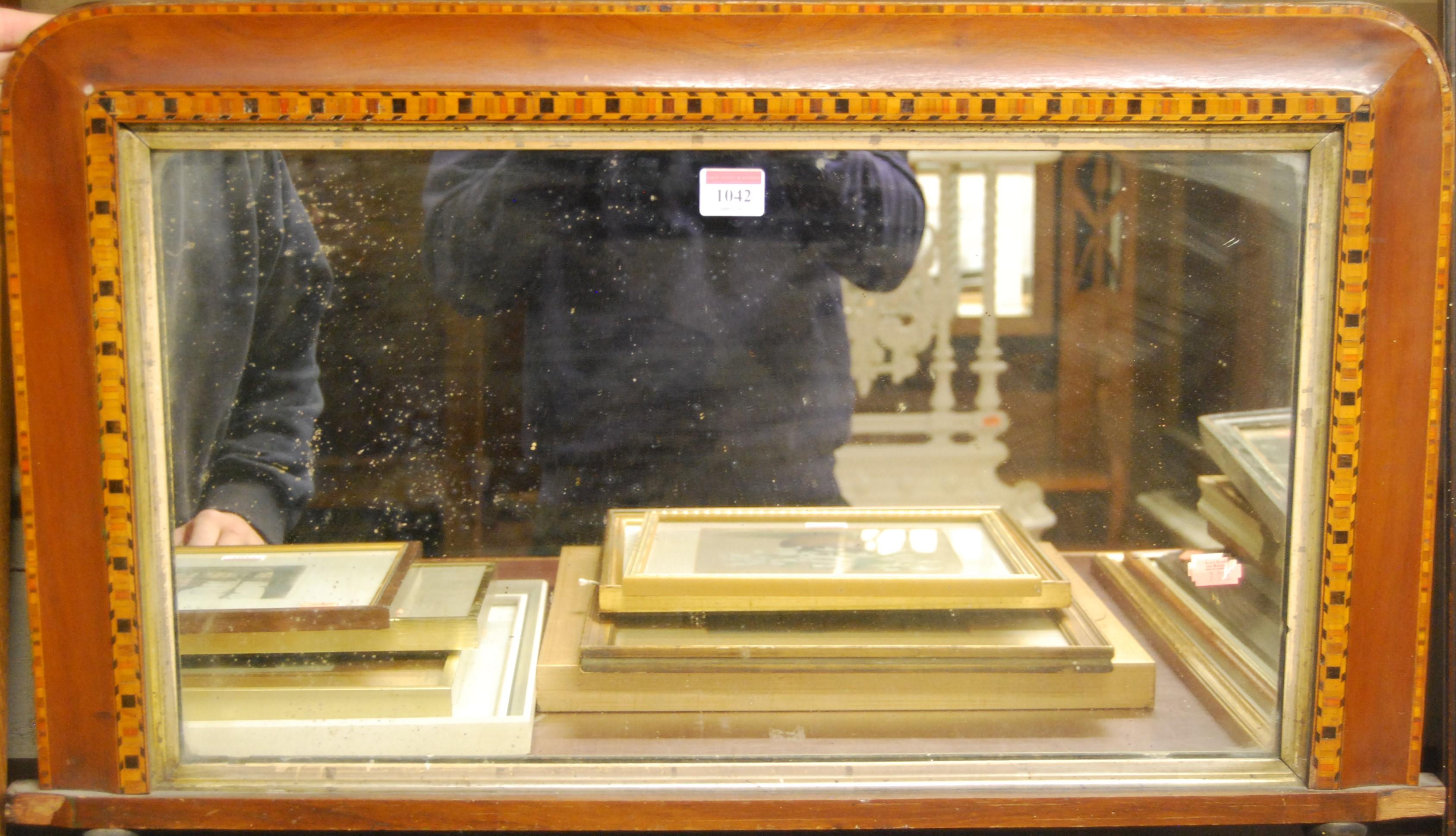 Lot 1042 - A Victorian walnut framed and Tunbridge marquetry inlaid overmantel mirror, w.72cm