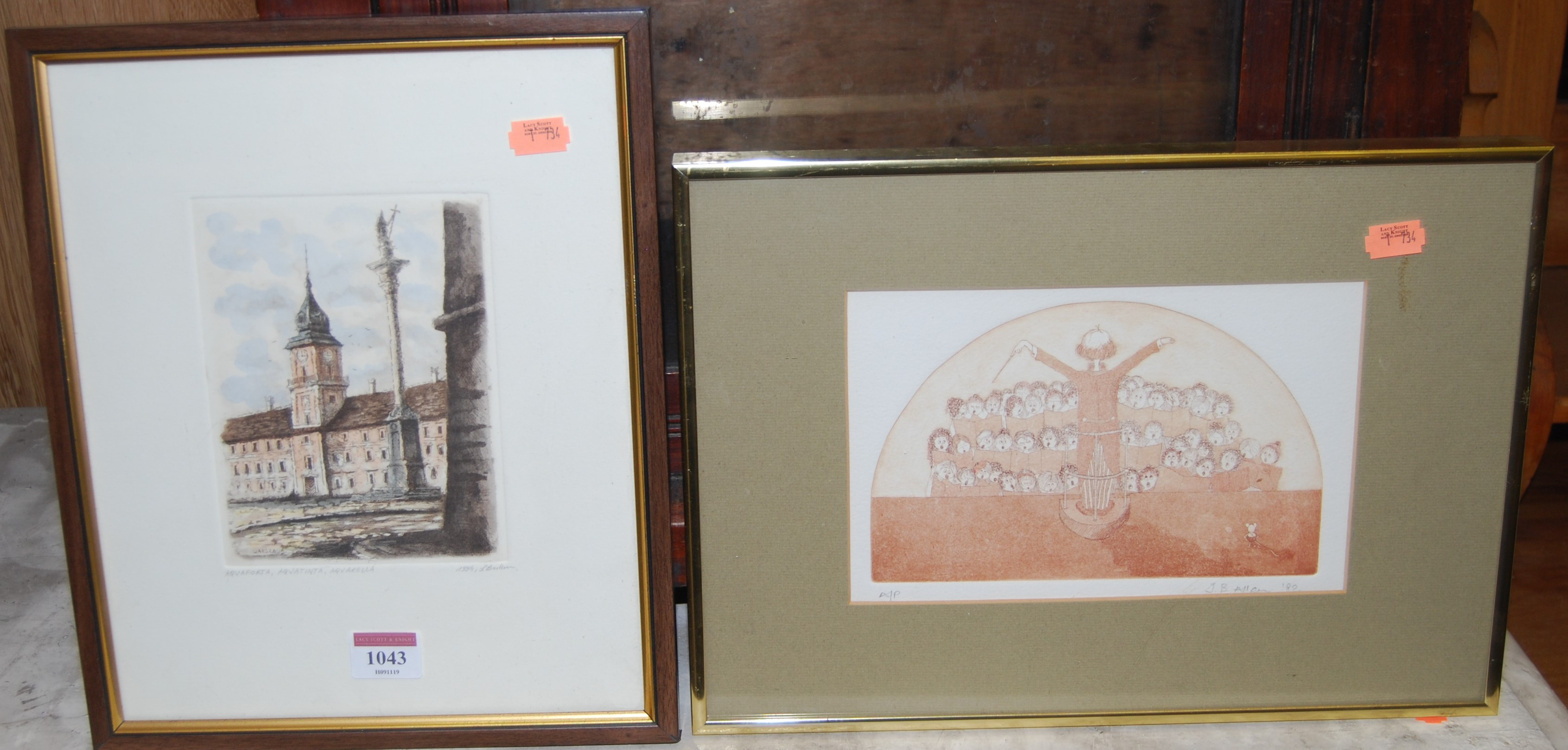Lot 1043 - Gwen Webb - Poppies in a wheat field, screenprint; Catherine Cool - Chloe, artists proof print; J.B.