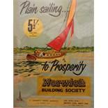 NORWICH BUILDING SOCIETY 'PLAIN SAILING TO PROSPERITY' ADVERTISING POSTER KINGS LYNN (53 X 80)CM