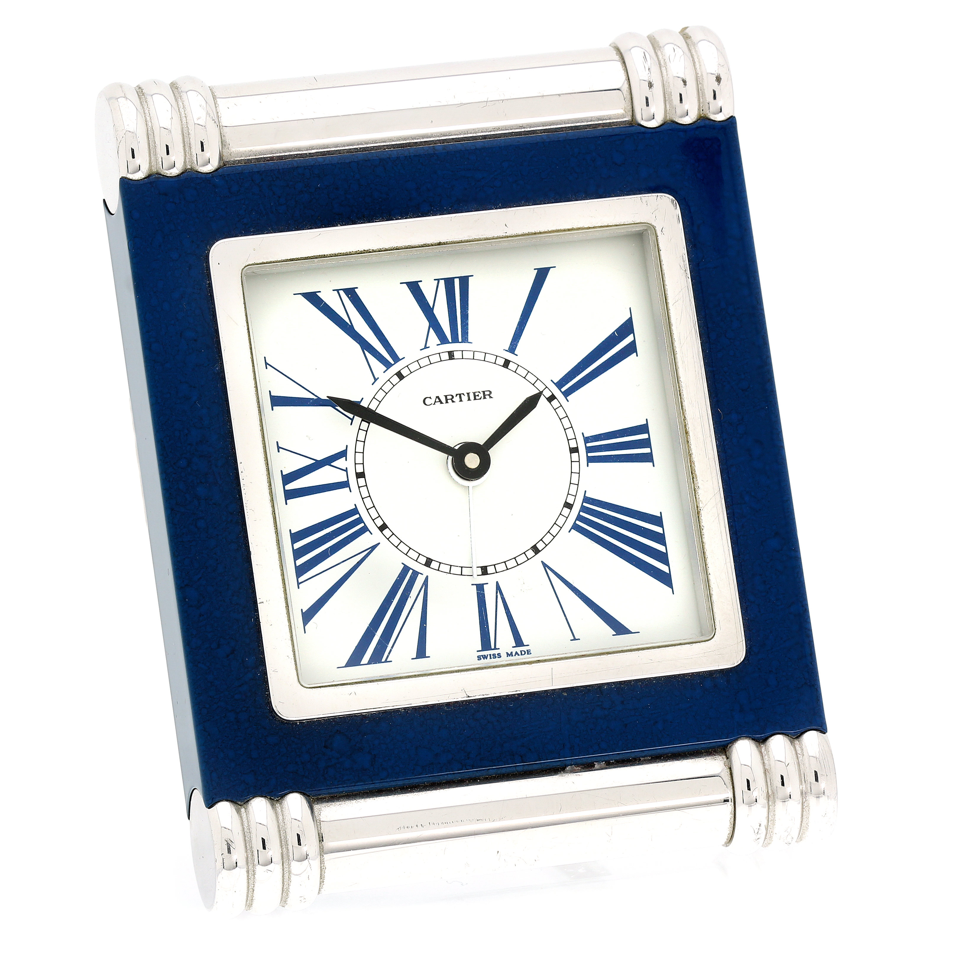Los 305 - A VINTAGE LAPIS LAZULI DESK CLOCK, CARTIER CIRCA 1980 of upright form on a hinged strut