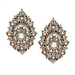 A PAIR OF ANTIQUE DIAMOND EARRINGS, 19TH CENTURY in high carat yellow gold and silver of navette
