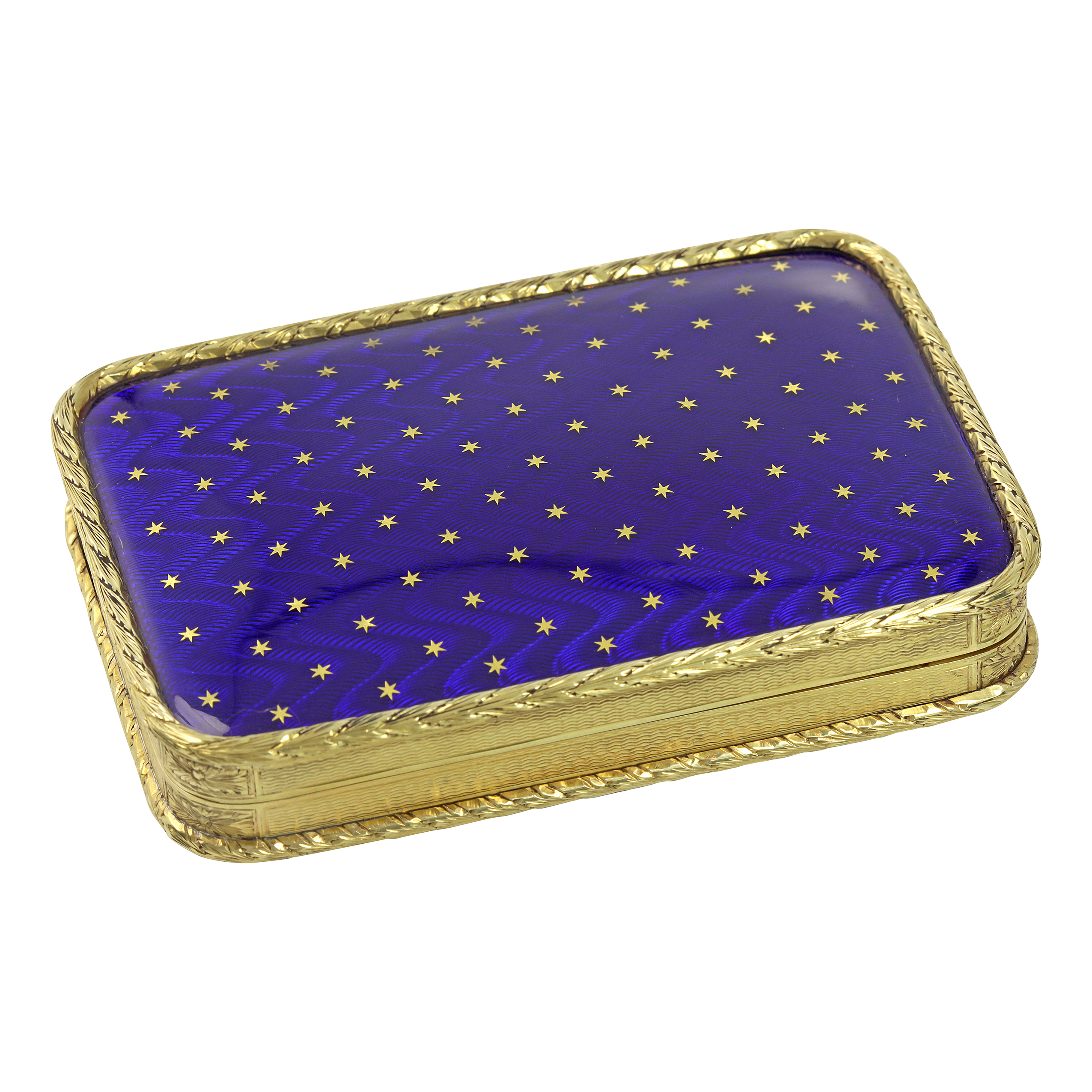 Los 304 - AN ANTIQUE ENAMEL GOLD BOX in high carat yellow gold, the rounded rectangular body with engine
