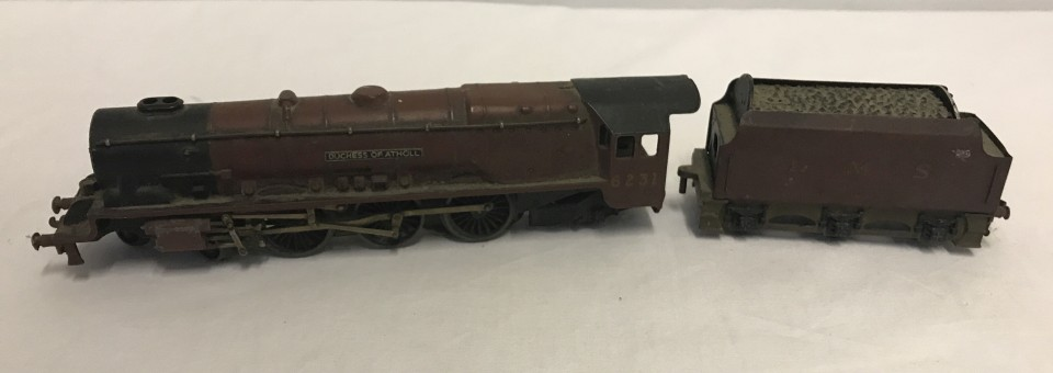 """Lot 97 - Hornby Dublo locomotive and tender """"Duchess of Atholl"""" 6231 LMS."""
