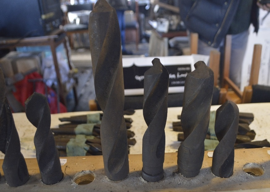 "Lot 54 - Four taper shank drill bits, length of longest approx. 15"" (4)."