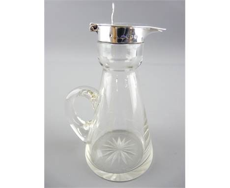 SILVER AND CUT GLASS WHISKEY NOGGIN with hinged lid and star cut base, 1925 Birmingham, S.Blankensee & Son Ltd