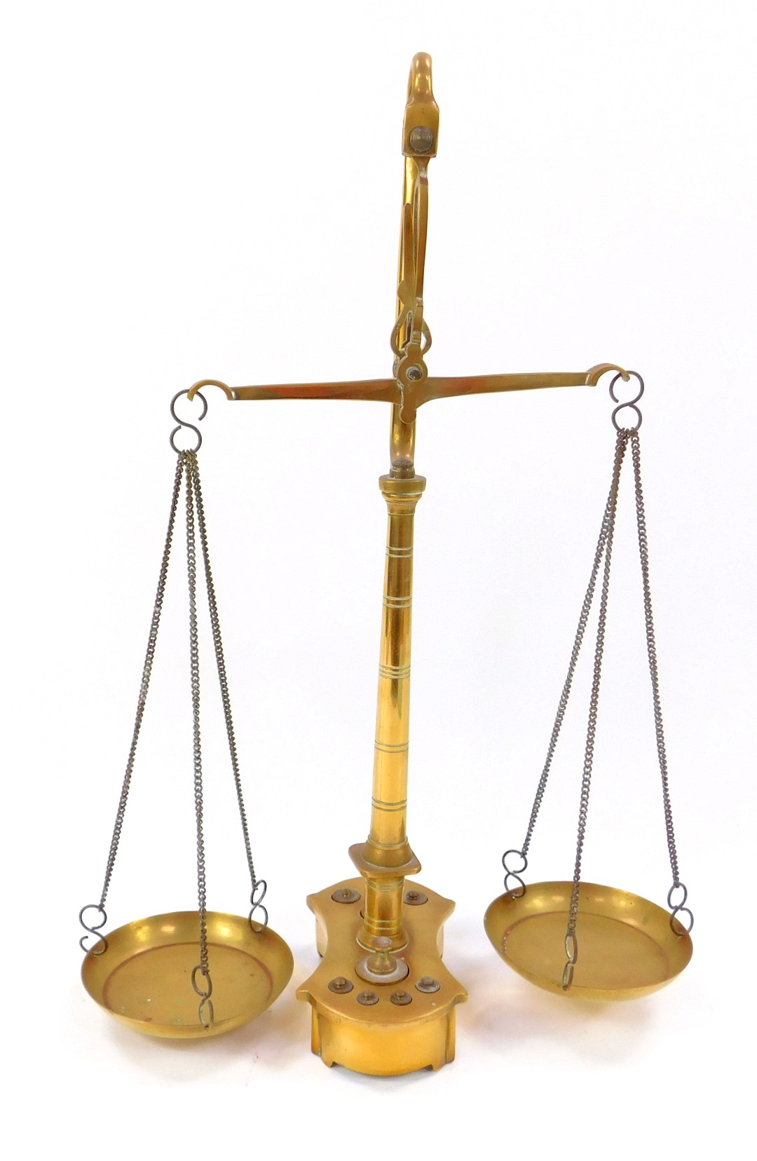 Lot 43 - A pair of Victorian brass beam scales, raised on a turned column and shaped base, holding eight