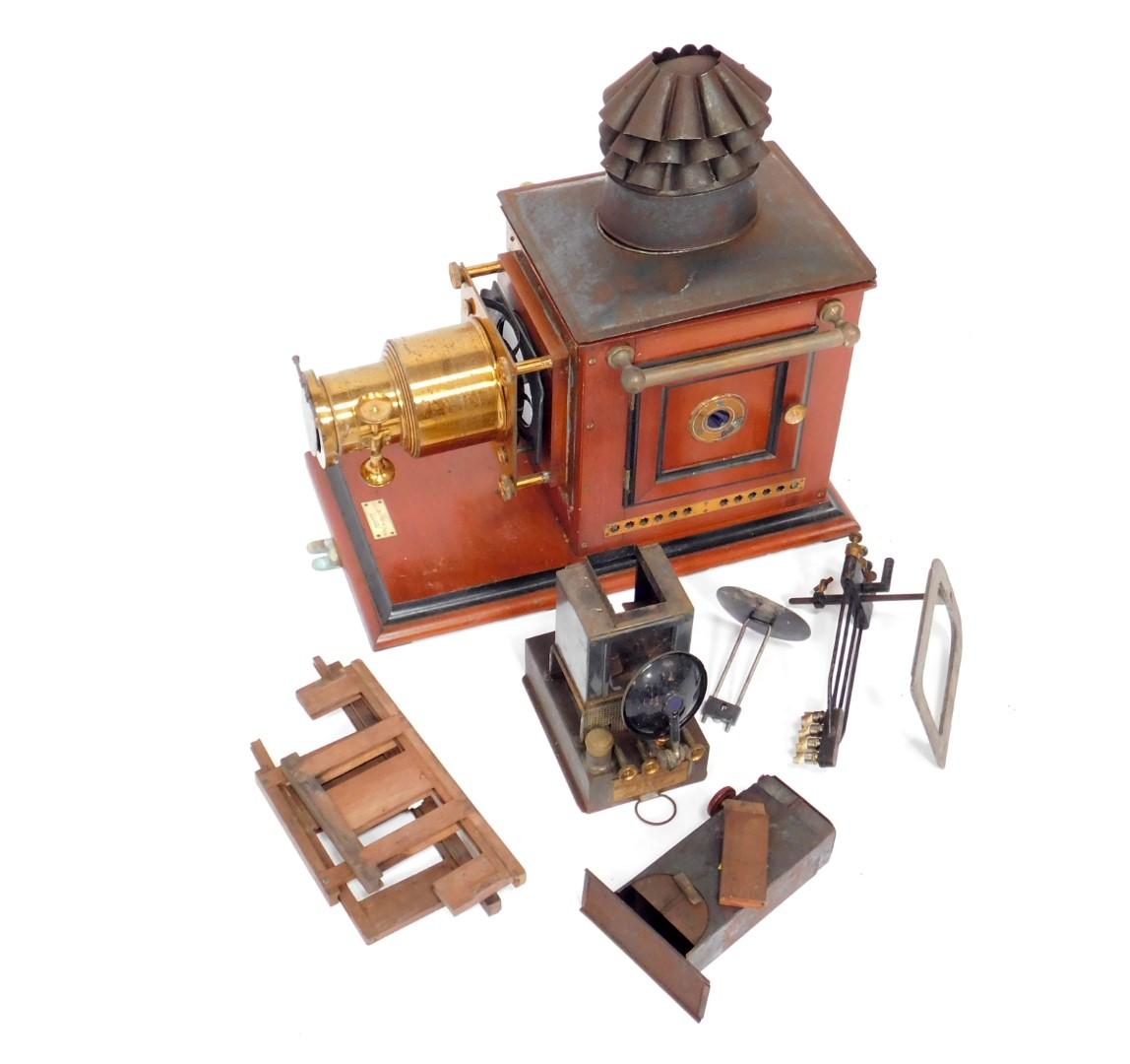 "Lot 8 - A Victorian mahogany and brass Optimus ""Magic Lantern"" by Perken Son & Co Ltd Hatton Garden"