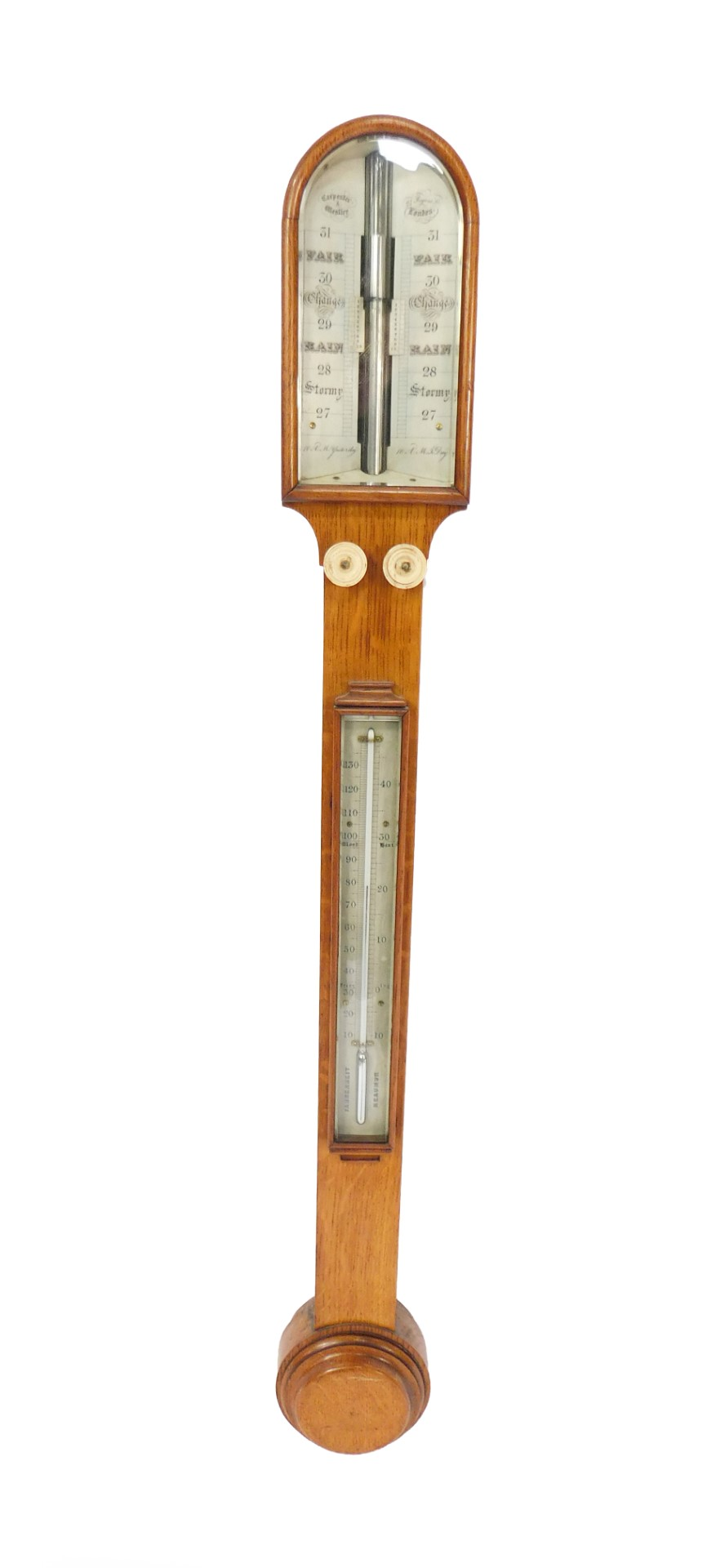 Lot 12 - A Victorian oak cased stick barometer by Carpenter & Westley, 24 Regent Street London, with