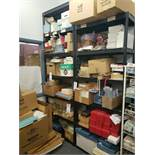 LOT OF MISC ON 2 SECTIONS OF SHELVING (SHIPPING TAGS AND SHELVING NOT INCLUDED)