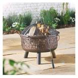 (LT35) Geo Fire Pit Burn logs or charcoal, using the protective dome spark guard Heat-resista...