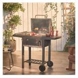 (LT3) Compact Charcoal Barbecue Compact barbecue with porcelain coated cooking grill 2 x side...