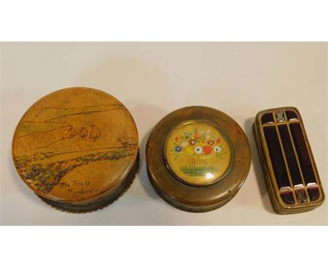 Three antique boxes. Including a treen box with central reverse painted floral design glass plaque and faux tortoiseshell ins