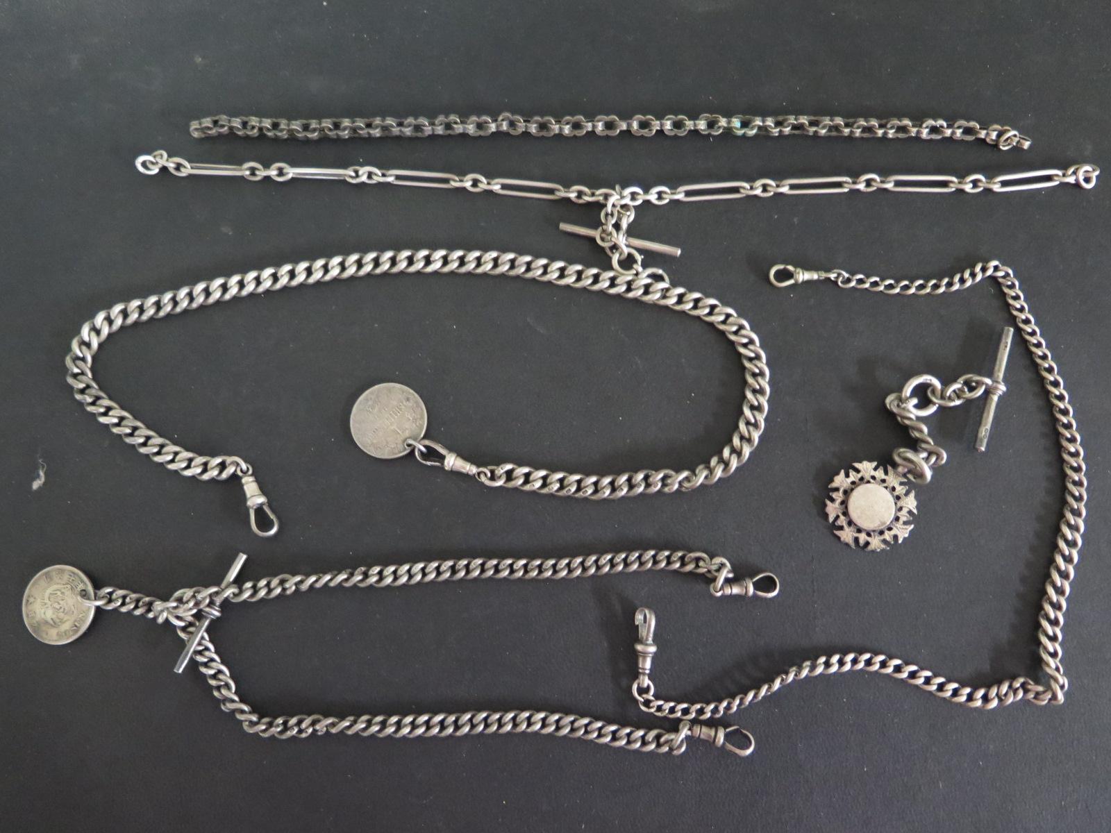 Lot 644 - Five silver watch chains - longest 44 cm,