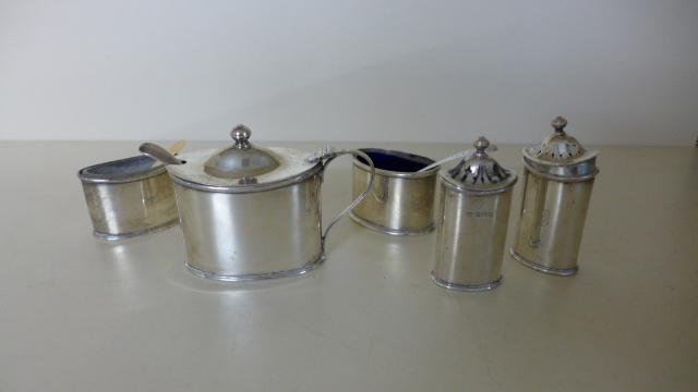 Lot 659 - Five Silver Cruet pieces, four by maker H. A.