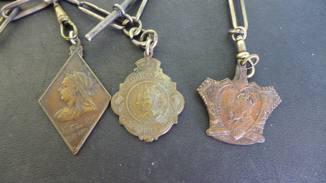 Lot 668 - Two Silver Watch Chains - both 37 cm long - one with a silver fob,