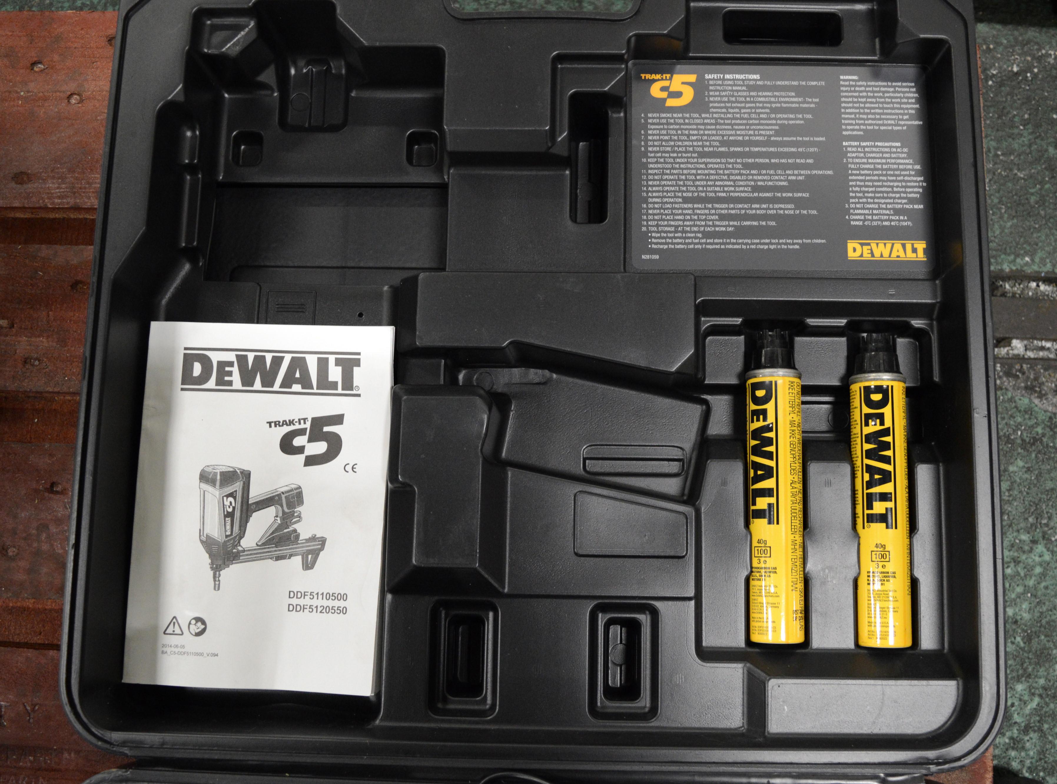 Lot 1722 - DeWalt C5 Trak-It Gas Actuated Nail Gun with Nails & Gas Cartridges.