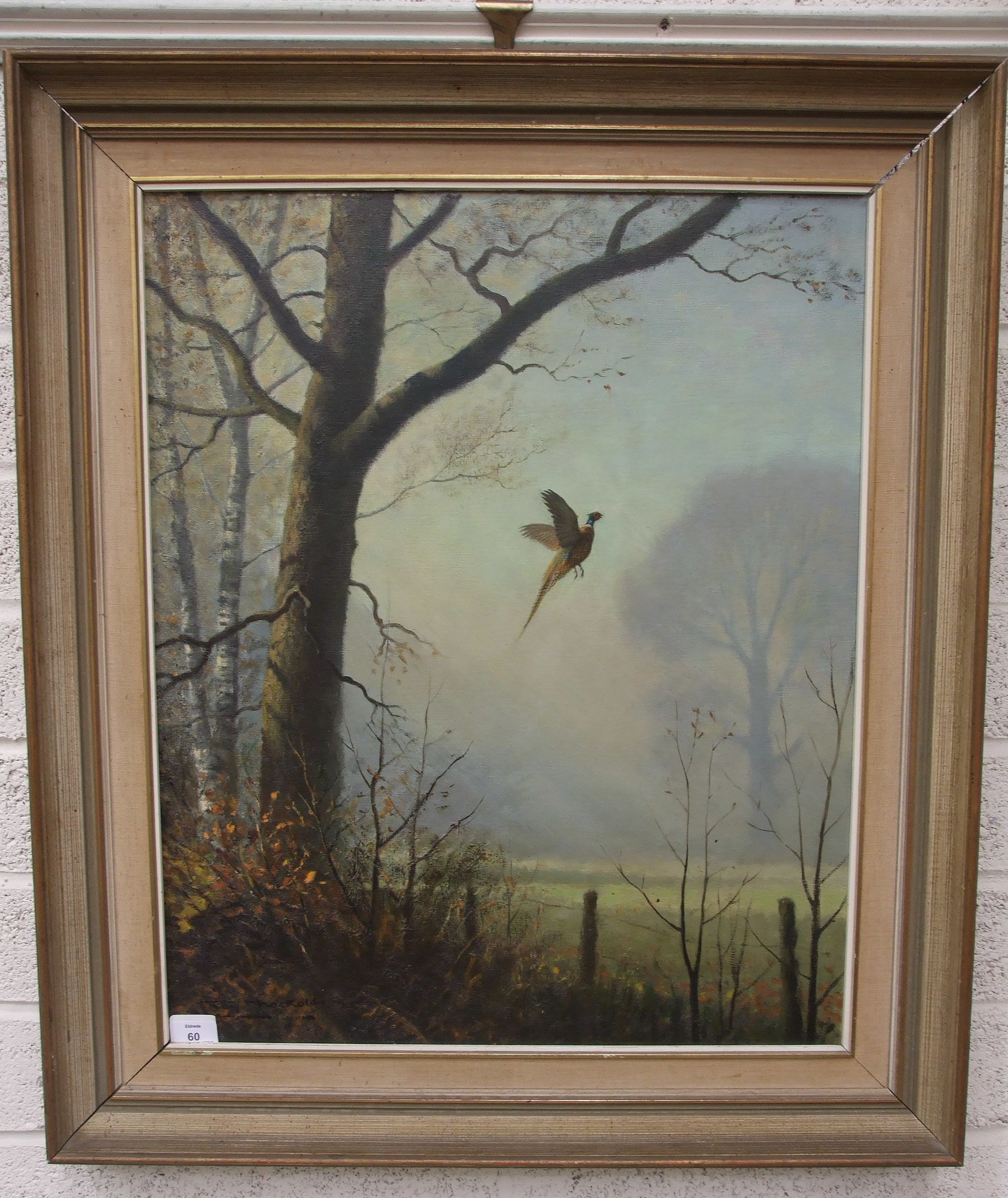 Lot 60 - Roy Nockolds, 'Pheasant rising in the early morning mist', signed oil on canvas, 67 x 54.5cm.