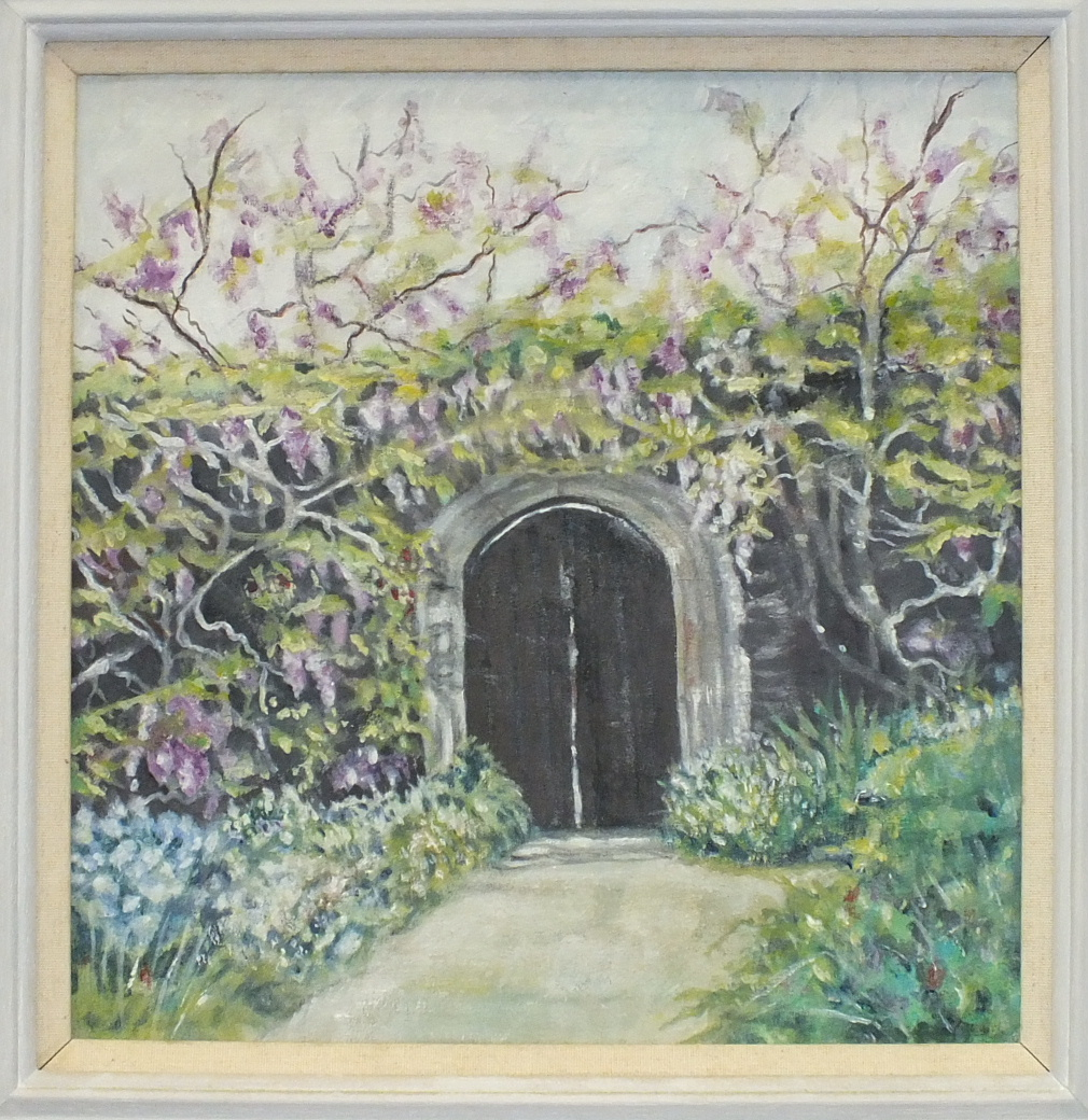 Lot 29 - Mary Martin, 'Garden Gate at the Garden House. Crapstone', a signed oil on canvas, 29 x 27cm,