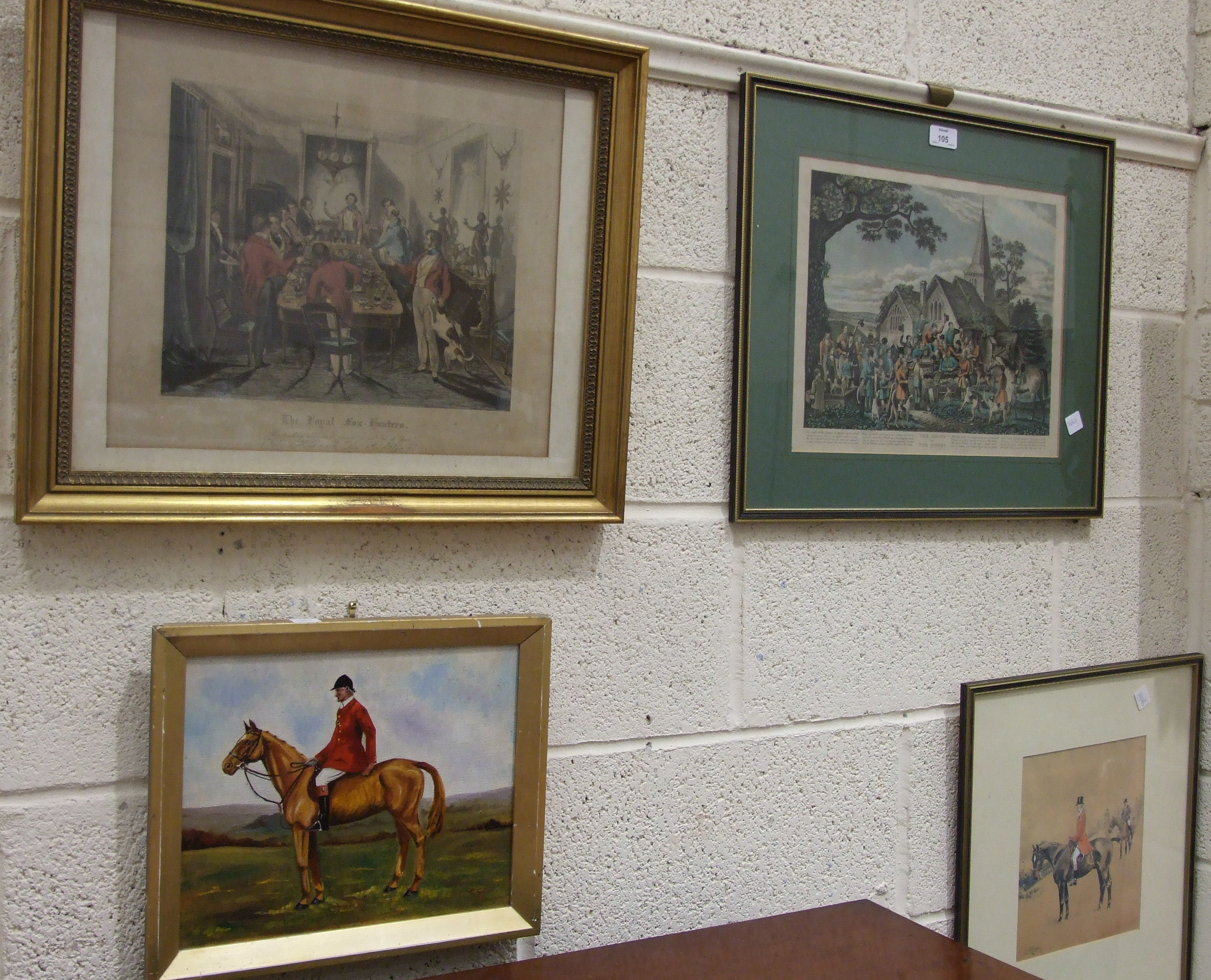 Lot 105 - 20th century, a naive oil on canvas, C S Cullen 'The open ditch, second time' and other hunting-