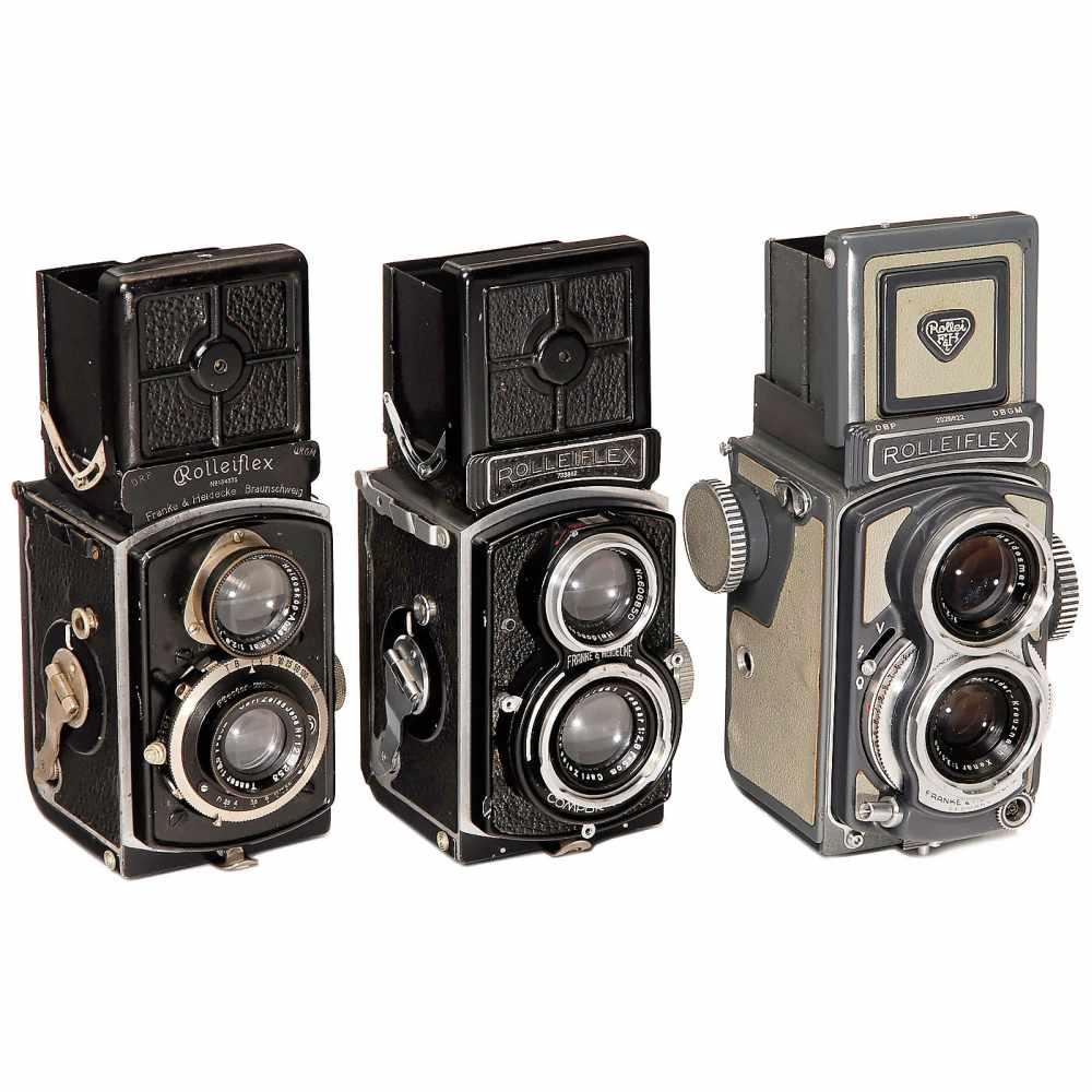 Lot 13 - 3 Rolleiflex TLR 4x4 CamerasFranke & Heidecke, Braunschweig. 1) Rolleiflex 4 x 4 (first model),