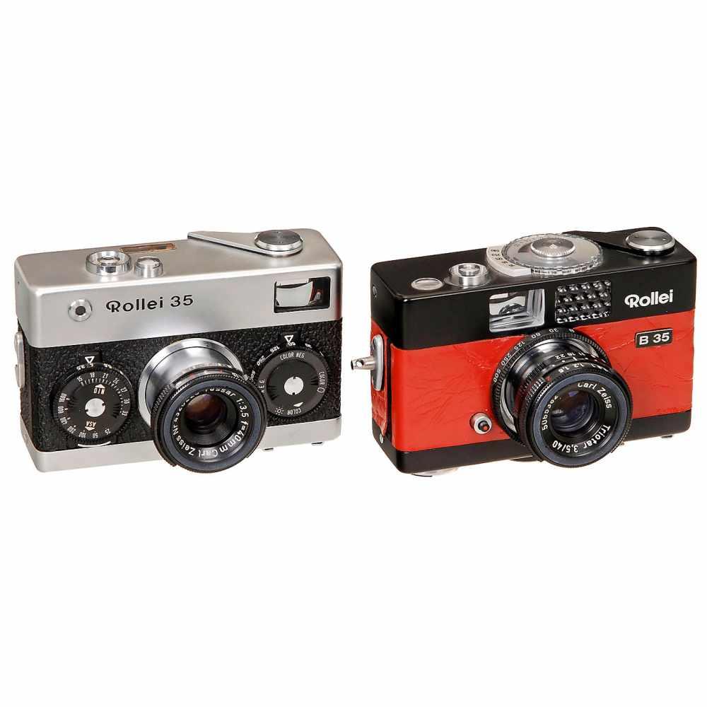 "Lot 12 - 2 Rollei 35 CamerasFranke & Heidecke, Braunschweig. 1) Rollei B 35 ""red"", 1971, black body and red"