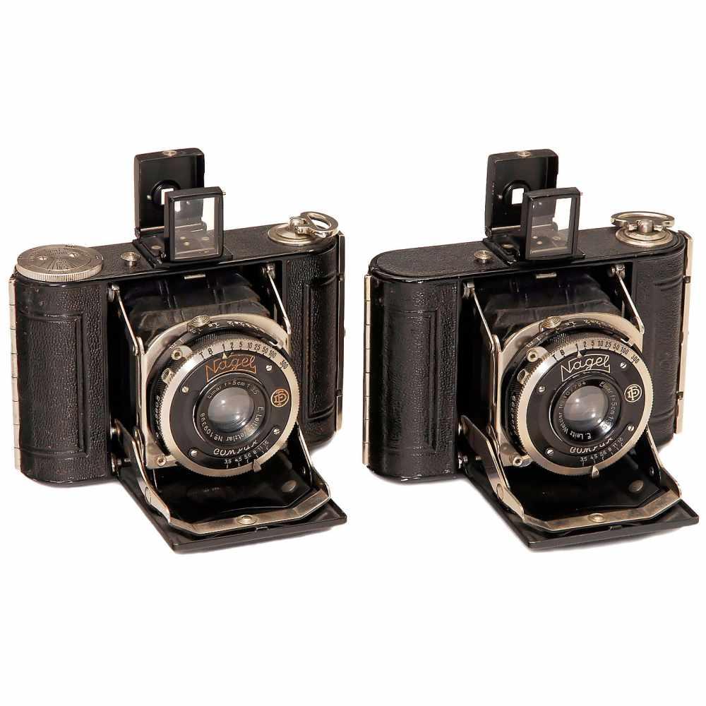 "Lot 57 - 2 Nagel Vollenda ""Elmar"" Cameras, 2 Different Versions, 1932Nagel, Stuttgart. Type 48, Elmar 3,5/5"