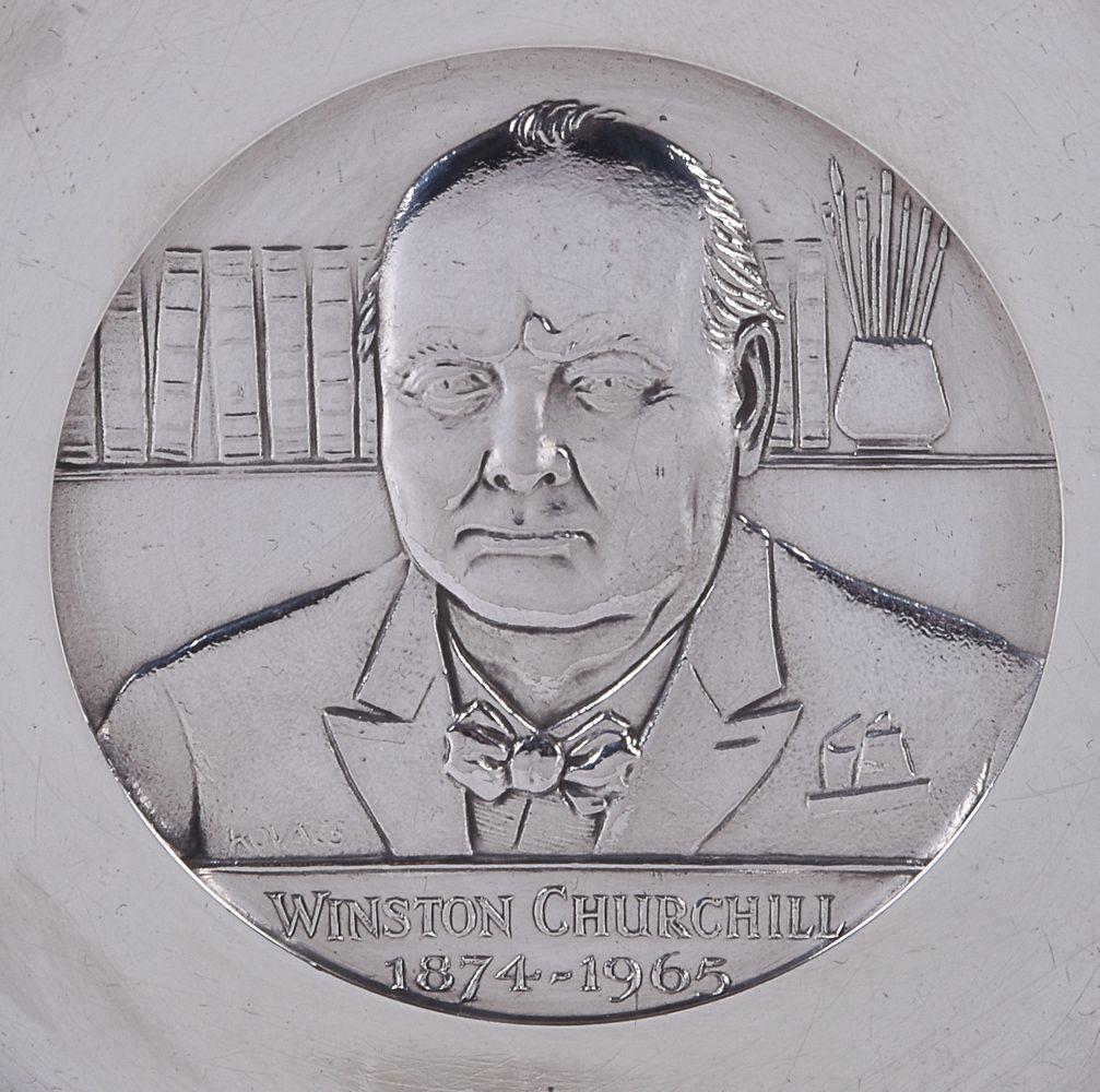 [Winston Churchill interest] A silver commemorative dish by C. J. Vander Ltd - Image 3 of 4