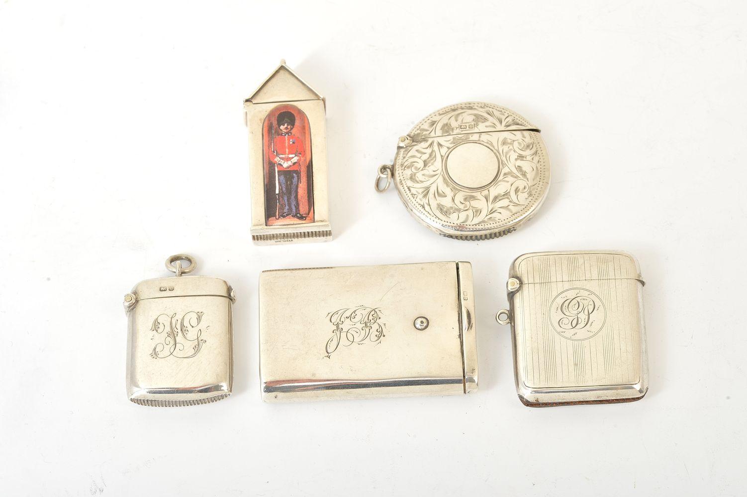 A silver novelty sentry box vesta case