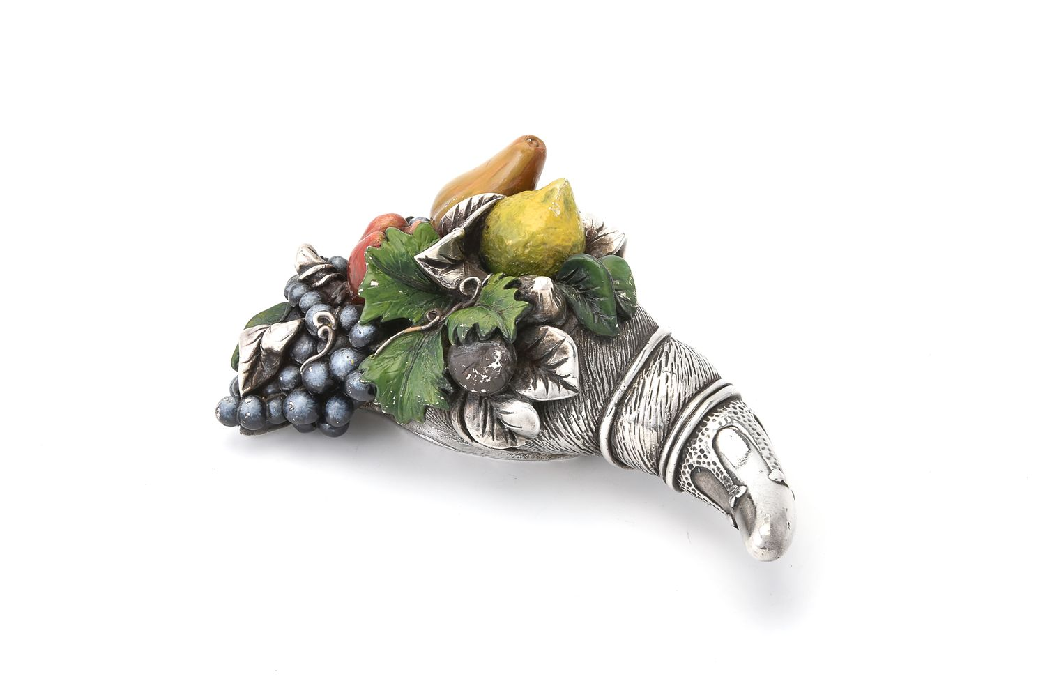 A silver and composition cornucopia of fruit by Camelot Silverware Ltd