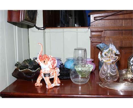 Three Carnival glass bowls, glass chandelier, Uredale Jack in the Pulpit glass vase and five other Uredale vases, vaseline gl
