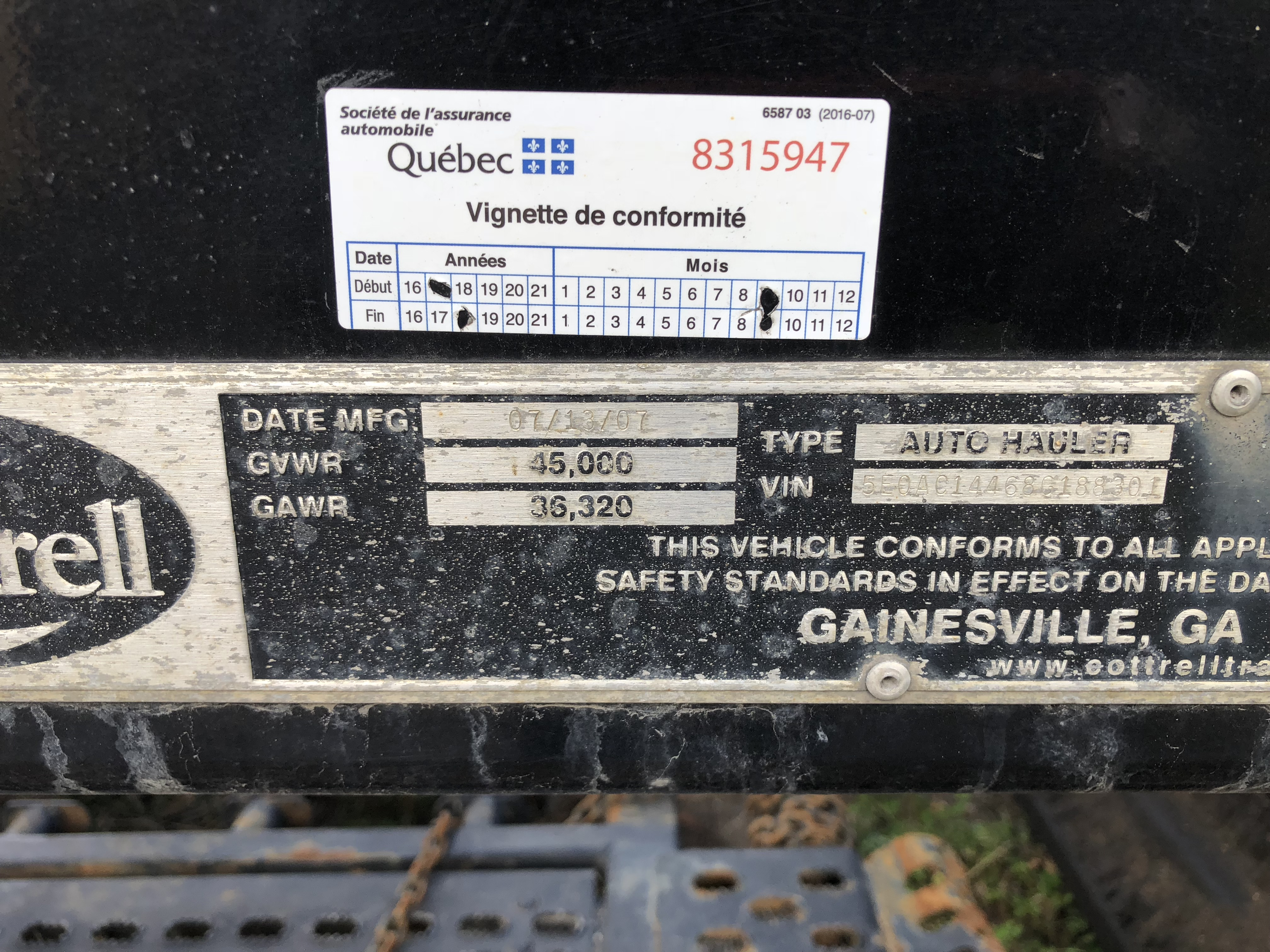 REMORQUE A VEHICULE COTTREL MODEL C-7512, CAPACITE 7 VEHICULES, S/N: 5E0A0144686188301 (2008) - Image 5 of 6