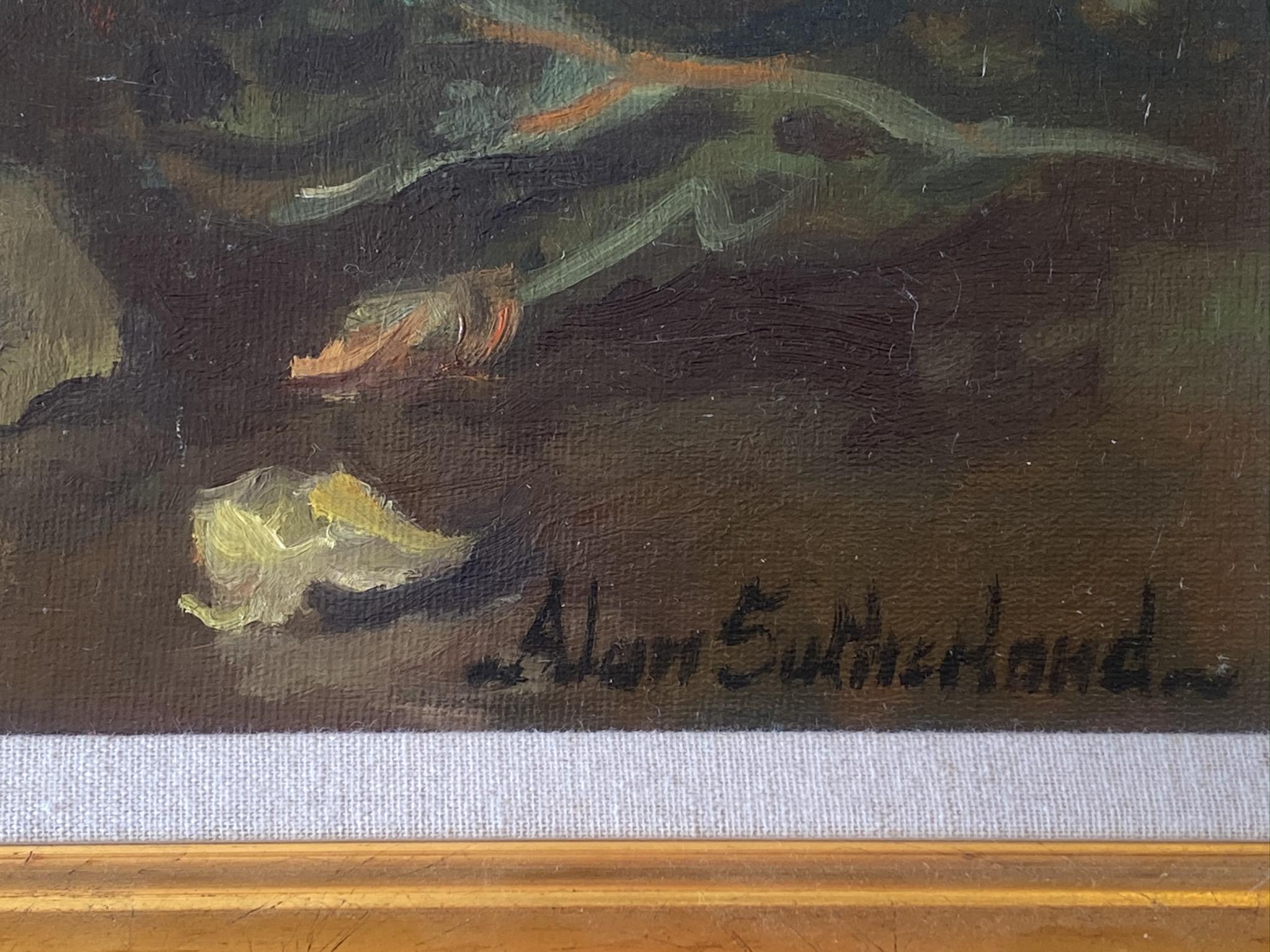 Original Signed Oil Scottish Based Artist. Alan Gordon Dunnett Sutherland - Dog Roses - Image 3 of 4