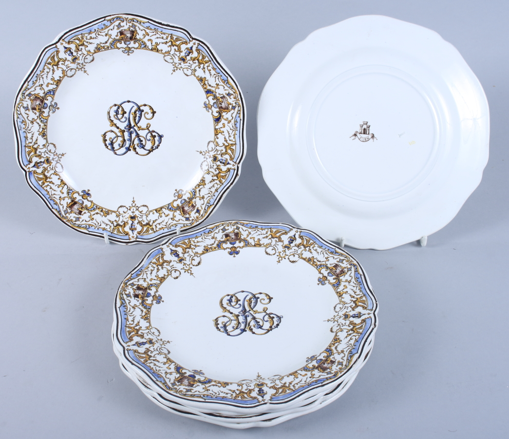 "Lot 10 - A set of six 19th century Gien pottery monogrammed dessert plates, 9"" dia"