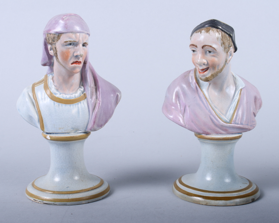 "Lot 16 - A pair of late 18th century Staffordshire busts, Tragedy and Comedy, 5 1/2"" high (restorations)"