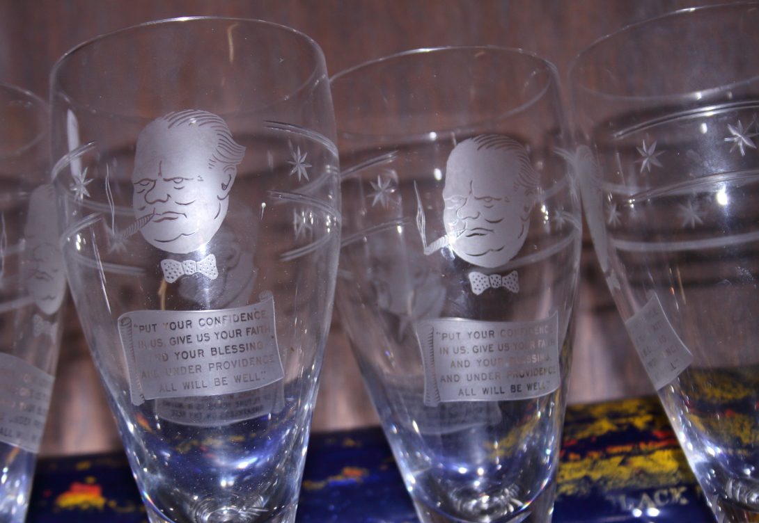 Lot 37 - A set of six Stuart crystal drinking glasses engraved with Churchill & Roosevelt
