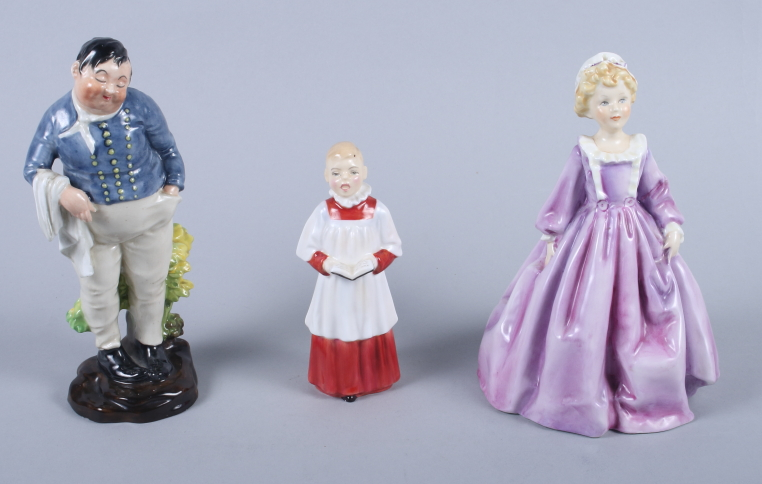 """Lot 11 - Two Royal Doulton figures, """"Fat Boy"""" HN555 and """"Choir Boy"""" HN2141, and a Royal Worcester figure """""""
