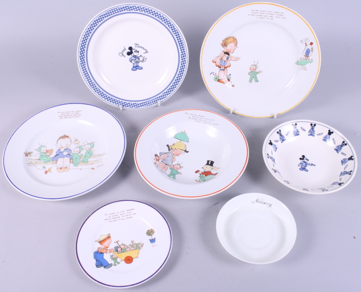 """Lot 13 - Two Mabel Lucy Attwell 8"""" plates, a soup plate and a side plate and three other pieces of nursery"""