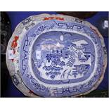 """A Fenton Stone Works pottery meat platter with chinoiserie decoration, 22"""" wide, and two"""