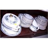 "A Royal Doulton ""Venetia"" pattern part dinner service, comprising dinner plates, soup bowls, salad"