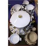 """A Midwinter """"Queensbury"""" pattern part dinner service, shapes designed by the Marquis of"""