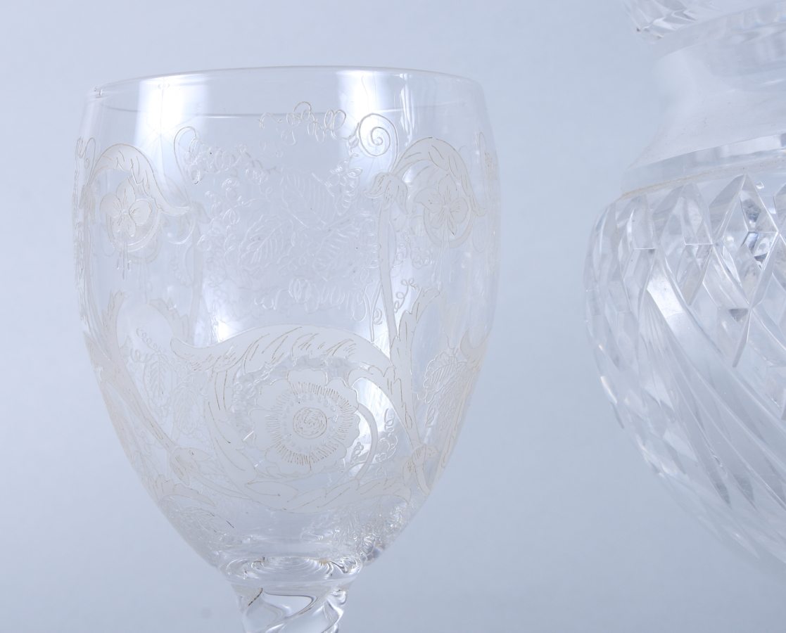"Lot 41 - A late 19th century cut glass bowl, on gilt metal stand, 8 1/2"" dia (rim chips) and a pair of 19th"