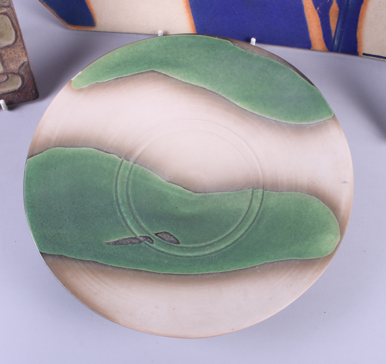 "Lot 14 - A studio pottery dish with green glaze, 9"" dia, a similar rectangular dish and two other pieces of"